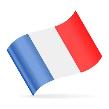 France Flag Vector Waving Icon - Illustration