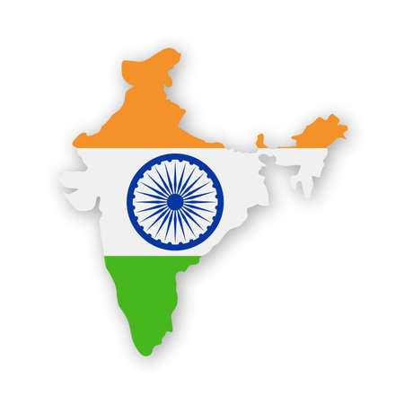 India Flag Country Contour Vector Icon - Illustration.