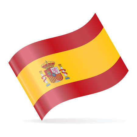Spain Flag Vector Waving Icon - Illustration