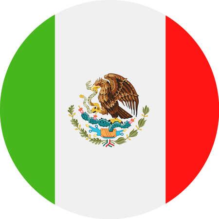 멕시코 플래그 벡터 라운드 평면 아이콘 - 그림