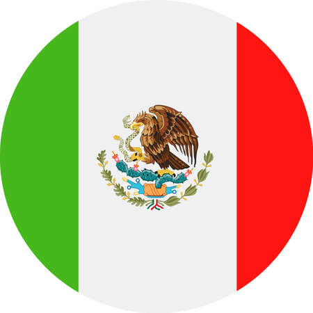Mexico Flag Vector Round Flat Icon - Illustration Vectores