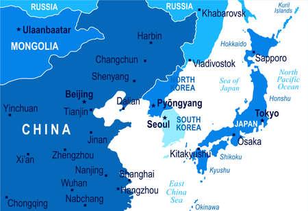 北朝鮮韓国日本中国ロシア モンゴル マップ - 詳細なベクトル図