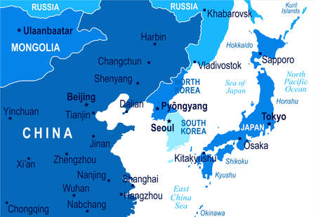 North Korea South Korea Japan China Russia Mongolia Map - Detailed Vector Illustration