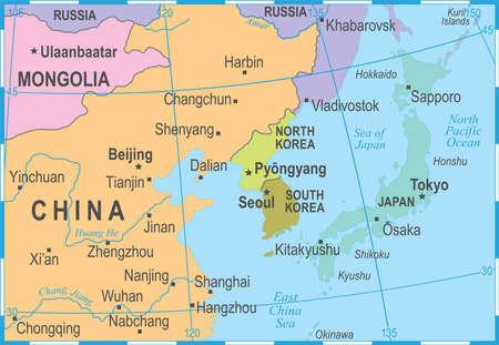 Noord-Korea Zuid-Korea Japan China Rusland Mongolië kaart - gedetailleerde vectorillustratie