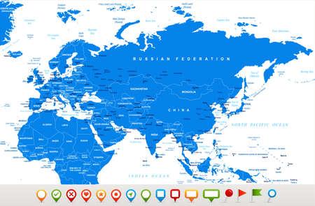 ユーラシア大陸ヨーロッパ ロシア中国インド インドネシア タイ アフリカ地図 - 詳細なベクトル図