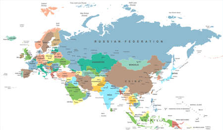 Eurasia Europa Russia China India Indonesia Thailand Map - Detailed Vector Illustration