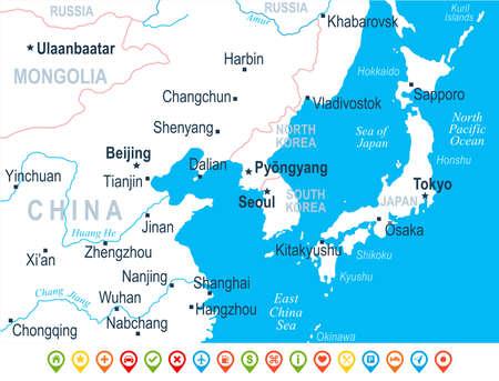 North Korea South Korea Japan China Russia Mongolia Map Detailed - Detailed map of russia