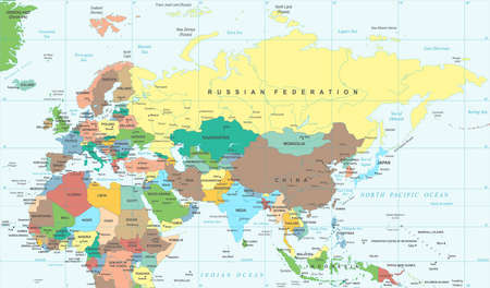 Eurasia Europa Russia China India Indonesia Thailand Africa Map - Detailed Vector Illustration Imagens - 87107376