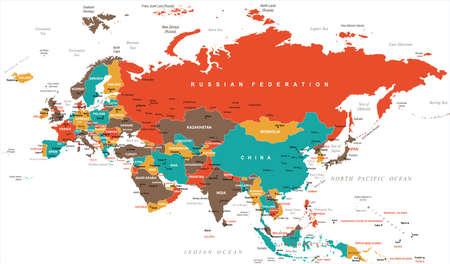 Eurasia Europa Russland China Indien Indonesien Thailand Karte - Detaillierte Vektor-Illustration