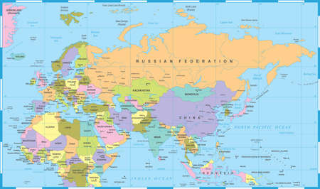 Eurasia Europa Russia China India Indonesia Thailand Africa Map - Detailed Vector Illustration