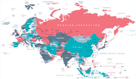 Eurasië Europa Rusland China India Indonesië Thailand Kaart - Gedetailleerde Vectorillustratie