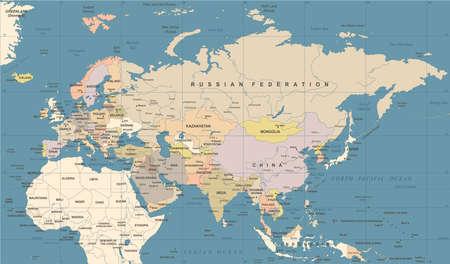 ユーラシア大陸ヨーロッパ ロシア中国インド インドネシア タイ地図 - 詳細なベクトル図