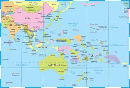 Oost-Azië en Oceanië kaart - gedetailleerde vectorillustratie