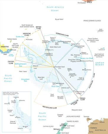 Detailed Antarctic region map vector illustration. Çizim
