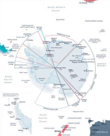 Gedetailleerde Antarctische regio kaart vectorillustratie.