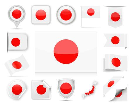 Insieme della bandierina del Giappone - illustrazione di vettore Vettoriali