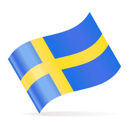 Sweden Flag Vector Waving Icon - Illustration