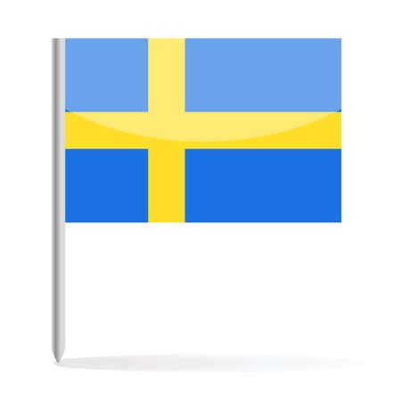 Sweden Flag Pin Vector Icon - Illustration