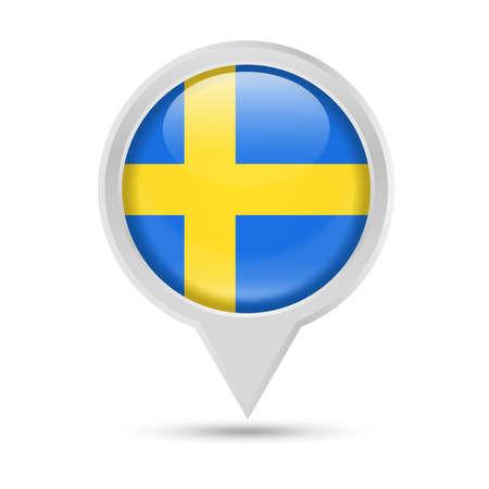 Sweden Flag Round Pin Vector Icon - Illustration