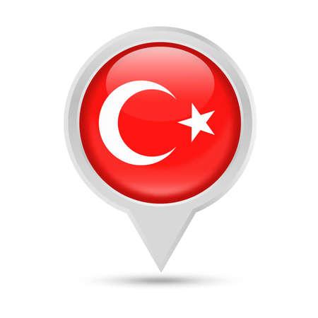 turquie drapeau round broche vecteur icône - illustration Vecteurs
