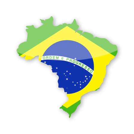 Brazil Flag Country Contour Vector Icon - Illustration Illustration
