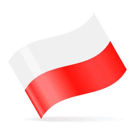Poland Flag Vector Waving Icon - Illustration