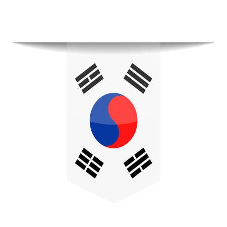 South Korea Flag Vector Bookmark Icon - Illustration