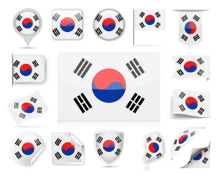 South Korea Flag Set - Vector Illustration