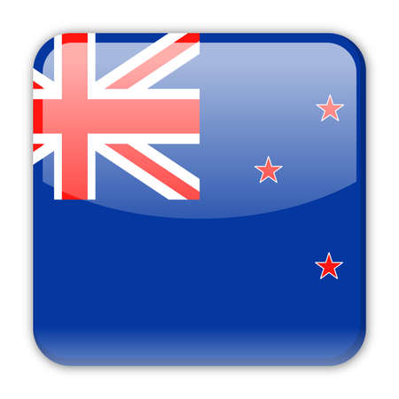 New Zealand Flag Vector Square Icon - Illustration