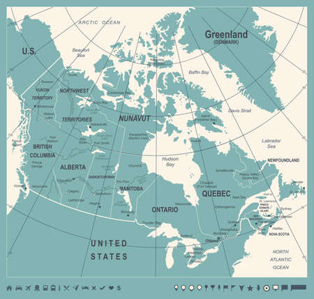 Canada Map - Vintage Detailed Vector Illustration