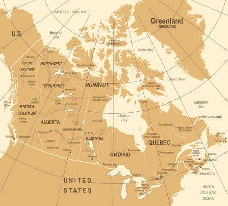 Canada Map - Vintage Detailed Vector Illustration