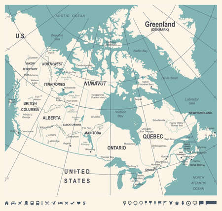 A Canada Map, vintage detailed vector illustration.