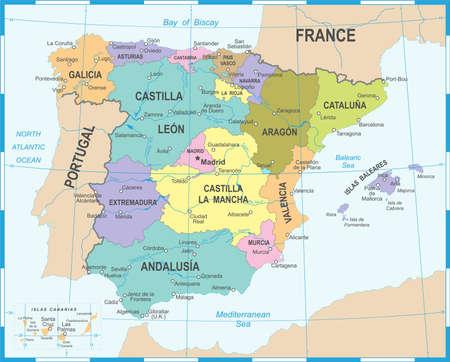 スペインは、詳細なイラストをマップします。