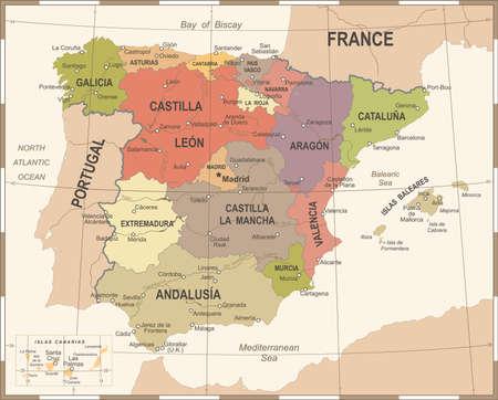 スペインは、ビンテージの詳細な図をマップします。