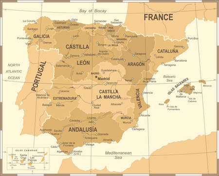 Spain map vintage detailed illustration. Фото со стока - 88210715