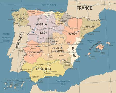 Spain map vintage detailed illustration.