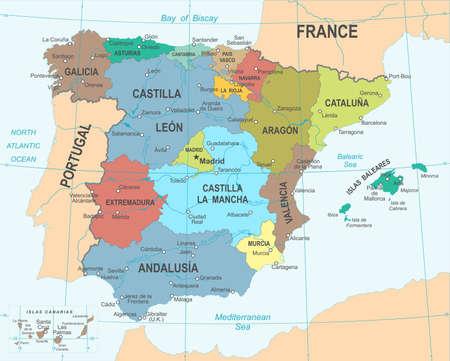 スペイン マップ - 詳細なベクトル図  イラスト・ベクター素材