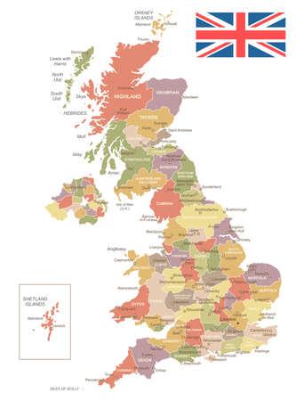 United Kingdom vintage map and flag - vector illustration