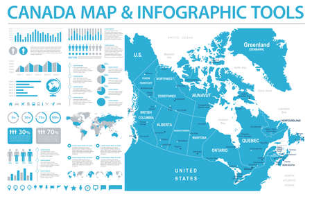 Canada Map - Detailed Info Graphic Vector Illustration