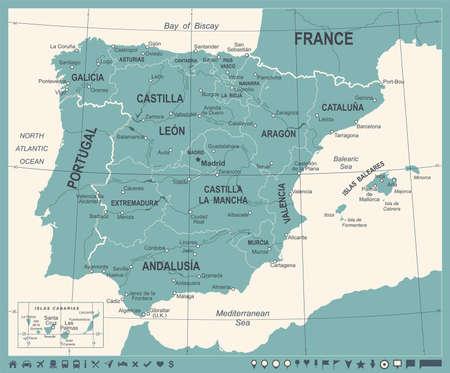 Spain Map - Vintage Detailed Vector Illustration