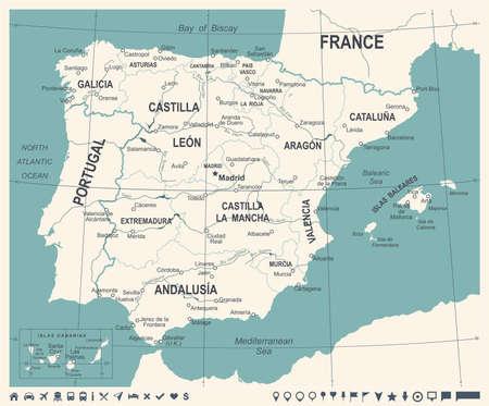 スペイン地図 - ヴィンテージの詳細なベクトル図