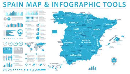 スペイン マップ - 詳細な情報グラフィック ベクトル図  イラスト・ベクター素材