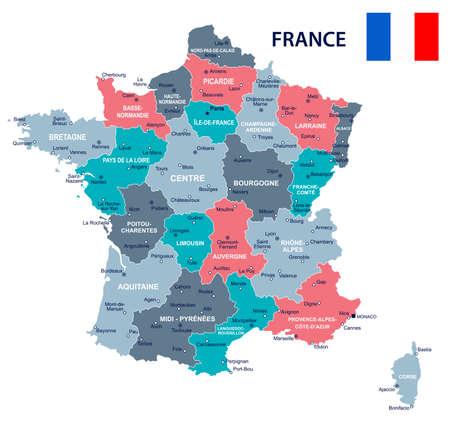 Francia mappa e bandiera - illustrazione vettoriale