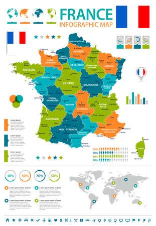 France infographic map and flag. Ilustração Vetorial