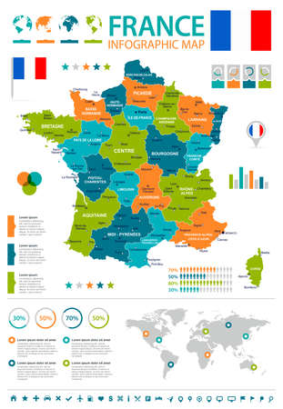 Mapa infograficzna Francji i flaga. Ilustracje wektorowe