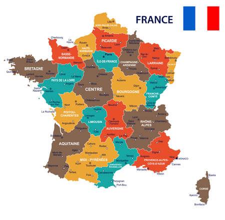 Illustrazione di mappa e bandiera della Francia.
