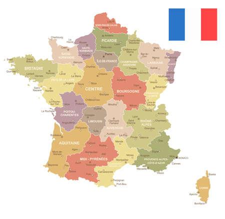 フランス ビンテージ地図と国旗のイラスト。