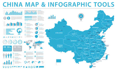 China Map - Detailed Info Graphic Vector Illustration Vettoriali