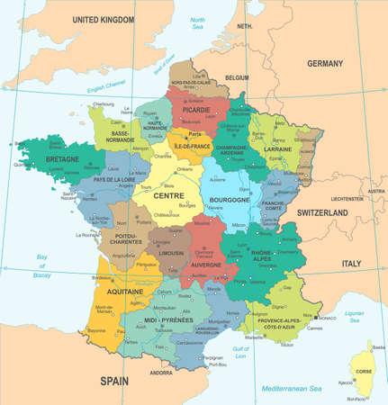 France detailed map illustration.