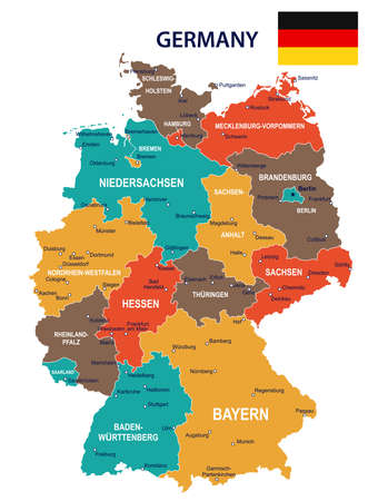 Germany map and flag - vector illustration
